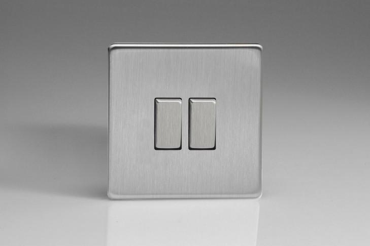 """Double Interrupteur Design Va et Vient à Bascule """"Rocker Switch"""" Acier Brossé"""