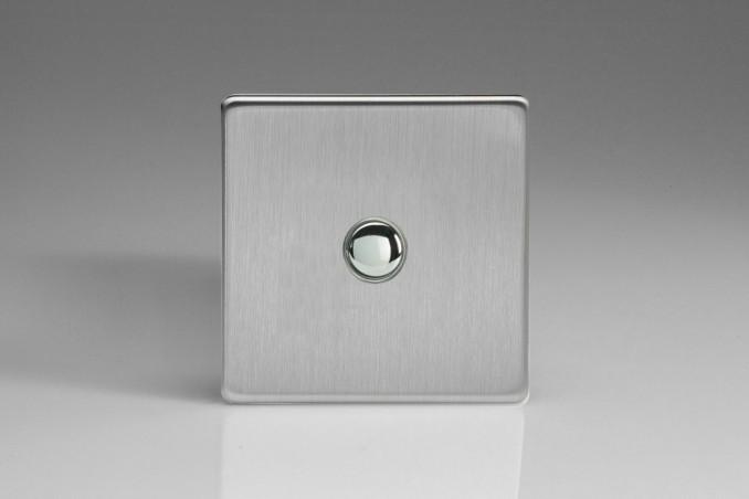 Interrupteur Bouton Poussoir Design Va et Vient Acier Brossé
