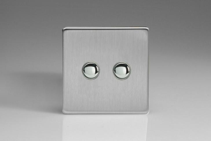 Double Interrupteur Bouton Poussoir Design Va et Vient Acier Brossé
