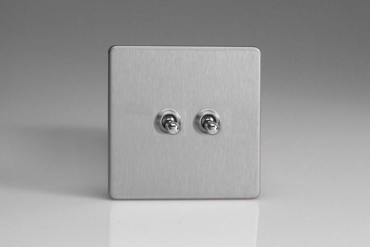 """Double Interrupteur Design Va et Vient à Levier """"Toggle Switch"""" (goutte d'eau) Acier Brossé"""