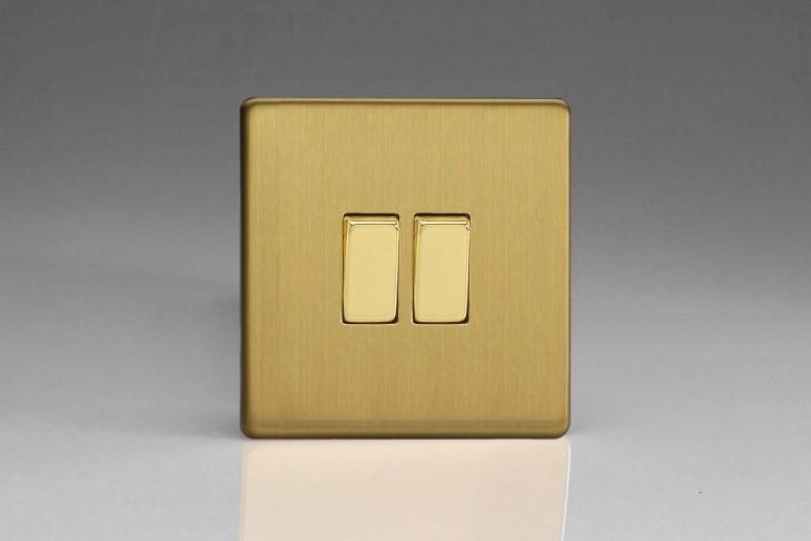 """Double Interrupteur Design Va et Vient à Bascule """"Rocker Switch"""" Laiton Brossé"""