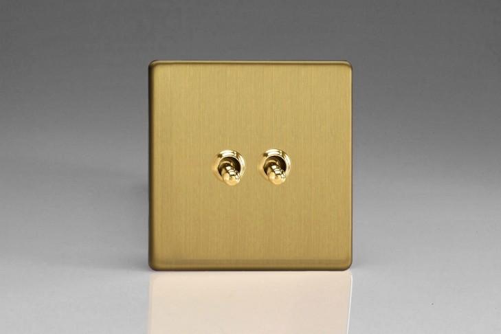 """Double Interrupteur Design Va et Vient à Levier """"Toggle Switch"""" (goutte d'eau) Laiton Brossé"""