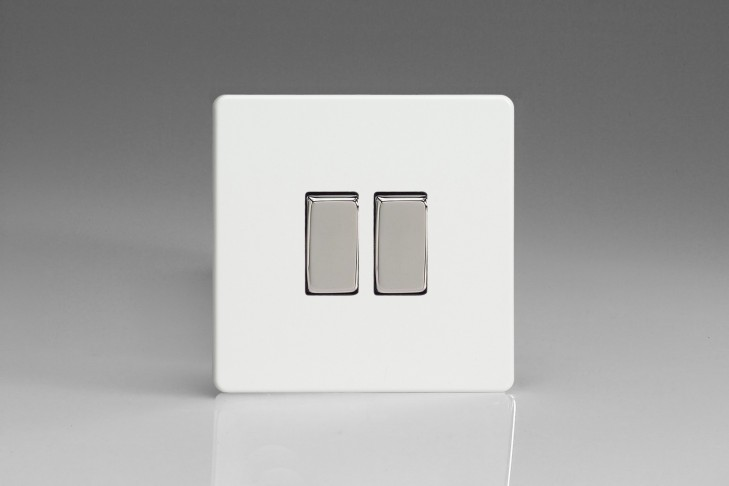 Double Interrupteur V&V Rocker Switch Blanc Mat
