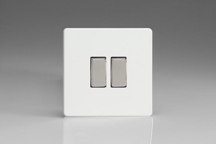 """Double Interrupteur Design Va et Vient à Bascule """"Rocker Switch"""" Blanc Laqué"""