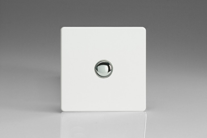 Interrupteur Bouton Poussoir Design Va et Vient Blanc Laqué