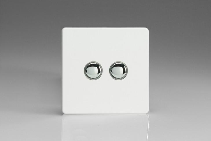 Double Poussoir Telerupteur Design Blanc Laqué