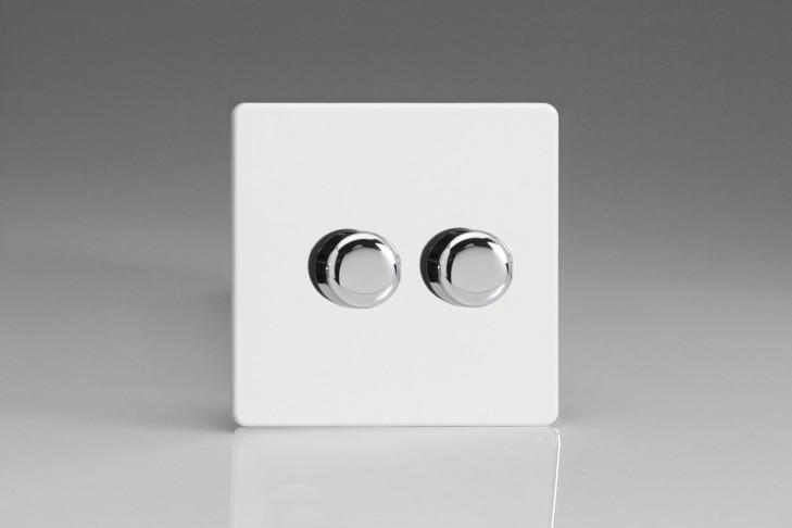 Double Variateur Rotatif 40-250W Design Blanc Laqué
