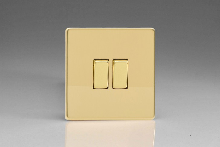 Double Interrupteur V&V Rocker Switch Laiton Miroir