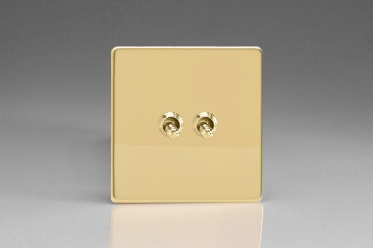 Double Interrupteur V&V Toggle Switch Laiton Miroir