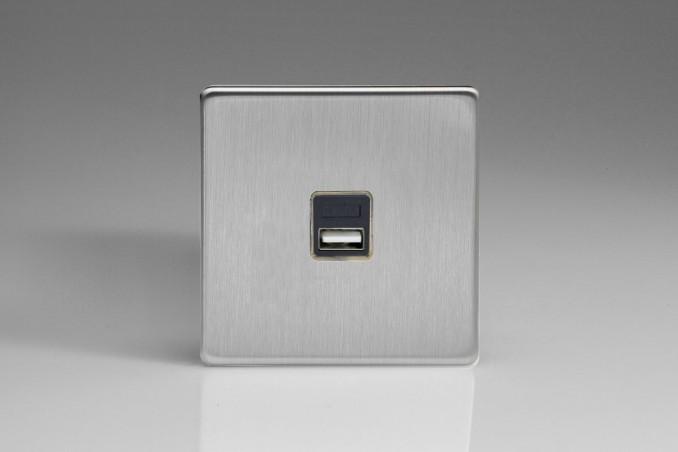Prise USB Design Acier Brossé