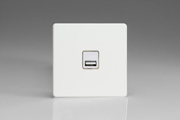 Prise USB Design 1 Port Blanc Mat