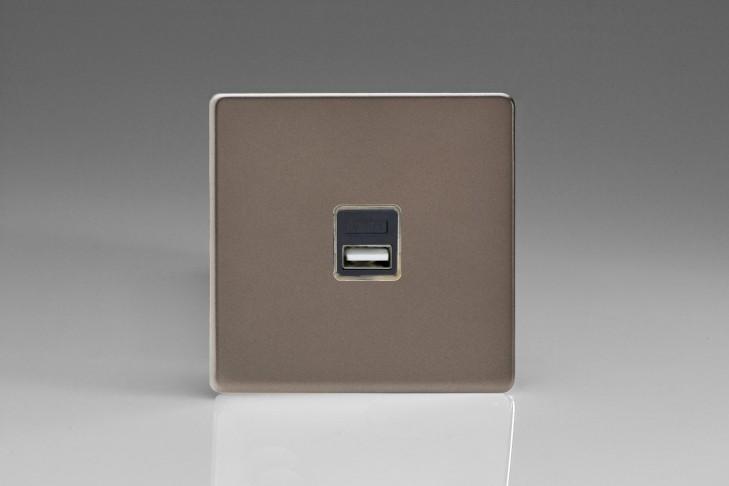 Prise USB Design 1 Port Etain (Canon de Fusil)