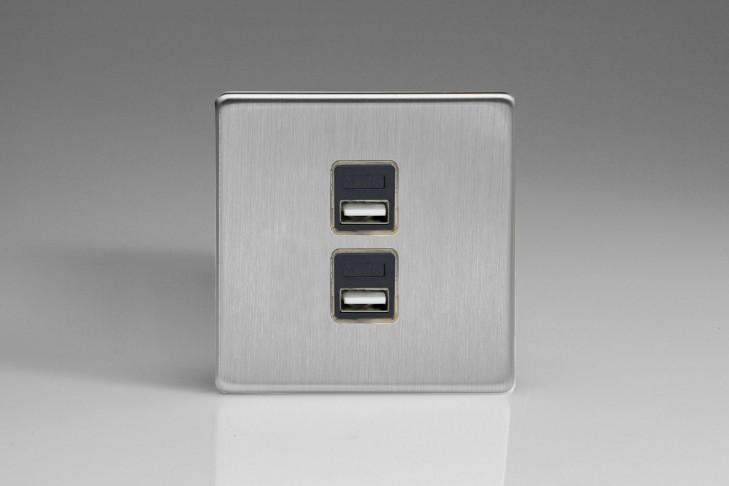 Prise USB Design 2 Ports Acier Brossé