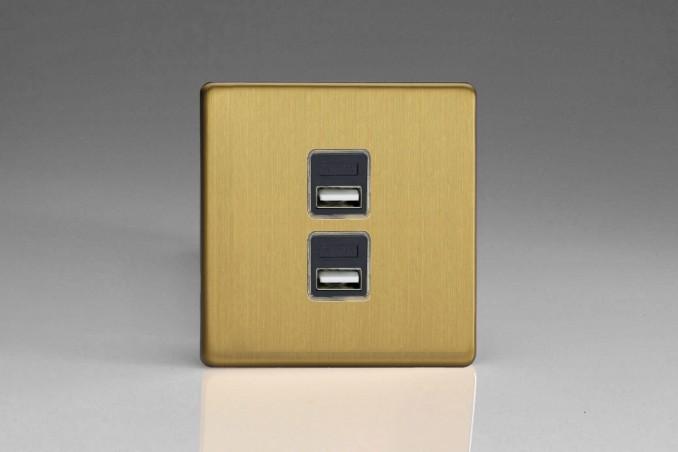 Prise USB Design 2 Ports Laiton Brossé