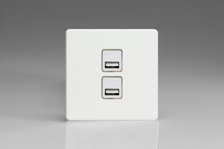 Prise USB Design 2 Ports Blanc Mat