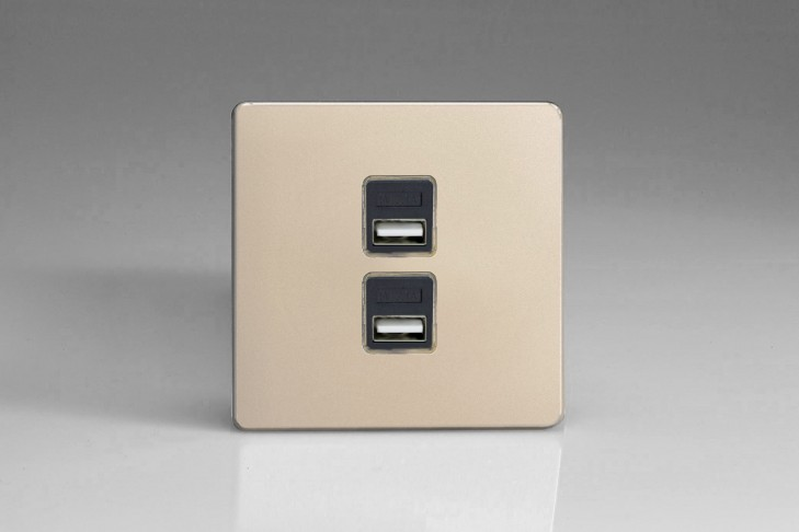 Prise USB Design 2 Ports Satin