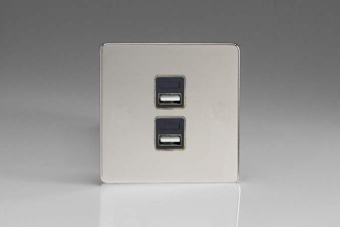 Prise USB Design 2 Ports Chrome Miroir