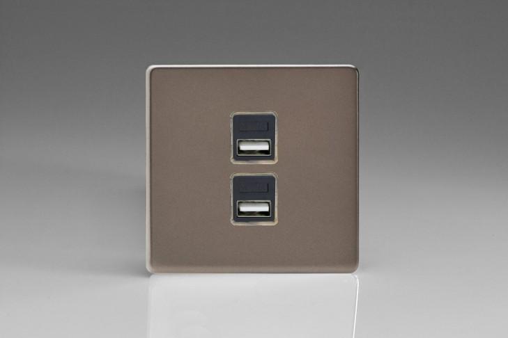 Prise USB Design 2 Port Etain (Canon de Fusil)