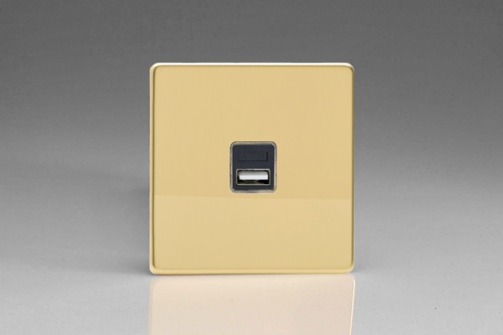Prise USB Design 1 Port Laiton Brossé