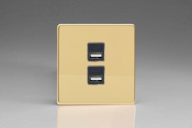 Prise USB Design 2 Ports Laiton Miroir
