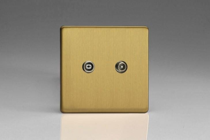 Prise Antenne / TV Design Laiton Brossé