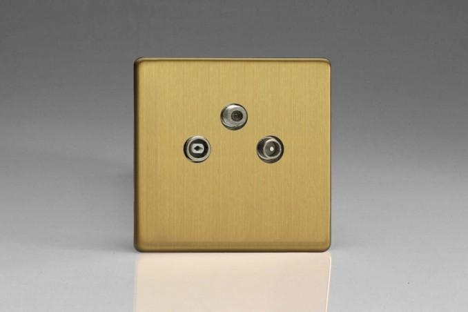 Prise Antenne / TV / SAT Design Laiton Brossé