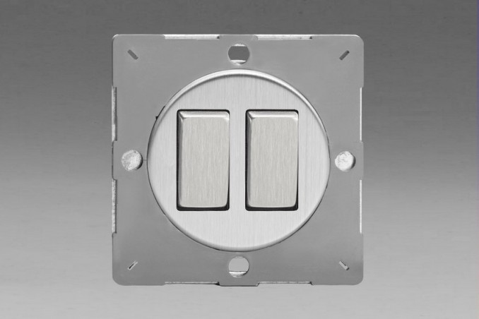 Module Double Interrupteur V&V Rocker Switch Acier Brossé