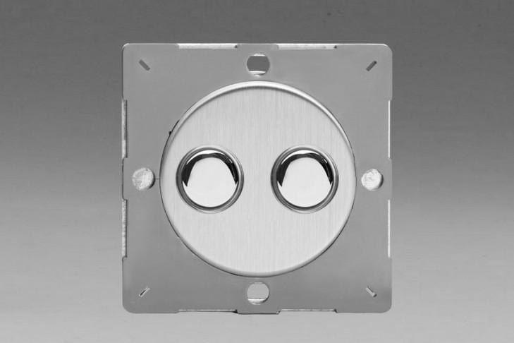 Module Double Interrupteur V&V Push Switch Acier Brossé