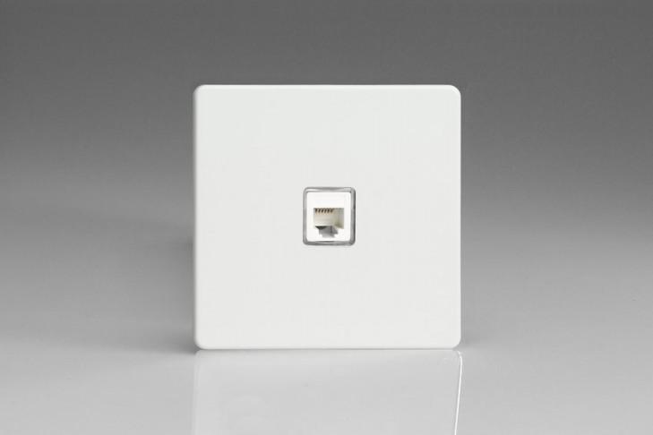 Prise Telephone RJ12 Design Blanc Mat