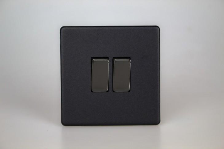 Double Interrupteur V&V Rocker Switch Noir Mat