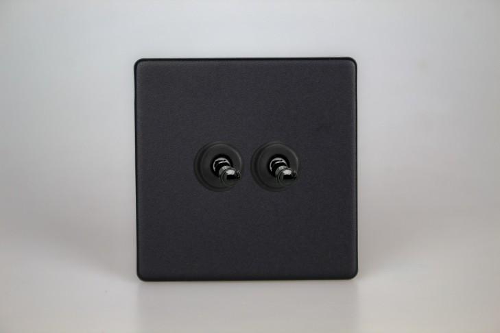 Double Interrupteur V&V Toggle Switch Noir Mat