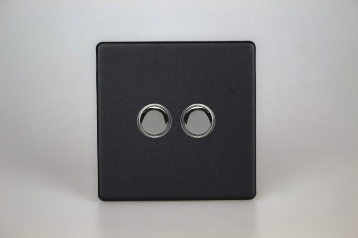 Double Interrupteur V&V Push Switch Noir Mat