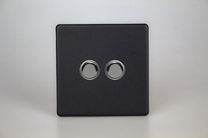Double Bouton Poussoir Telerupteur Noir Mat