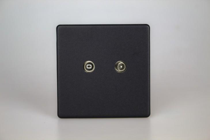 Prise TV/FM Design Noir Mat