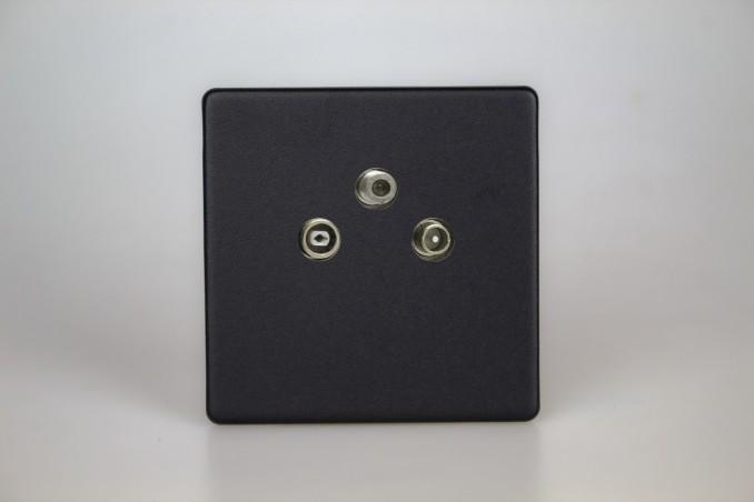 Prise TV/FM/SAT Design Noir Mat