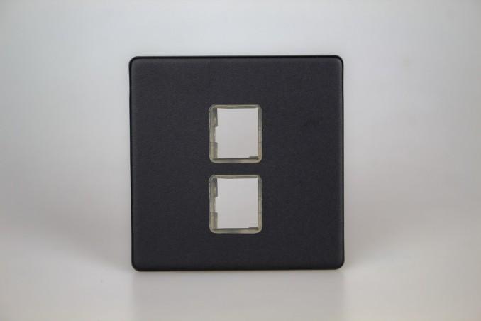 Plaque DATA 2 ports Prise RJ12, RJ45 ou USB Design Haut de Gamme Noir Mat
