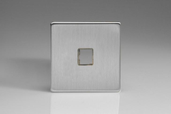 Plaque Data 1 Port pour Prise RJ12, RJ45 ou USB Design Acier Brossé