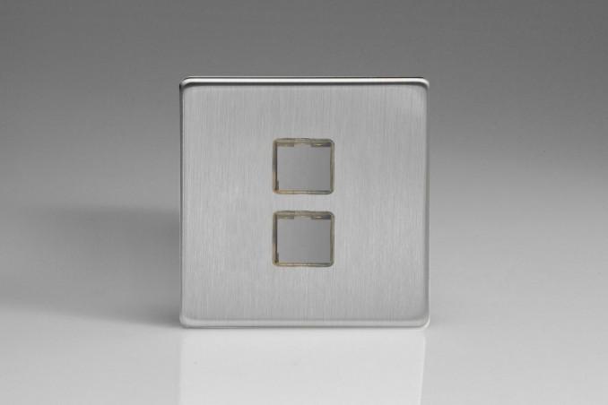 Plaque Data 2 Ports pour Prise RJ12, RJ45 ou USB Design Acier Brossé