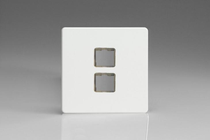 Plaque Data 2 Ports pour Prise RJ12, RJ45 ou USB Design Blanc Mat