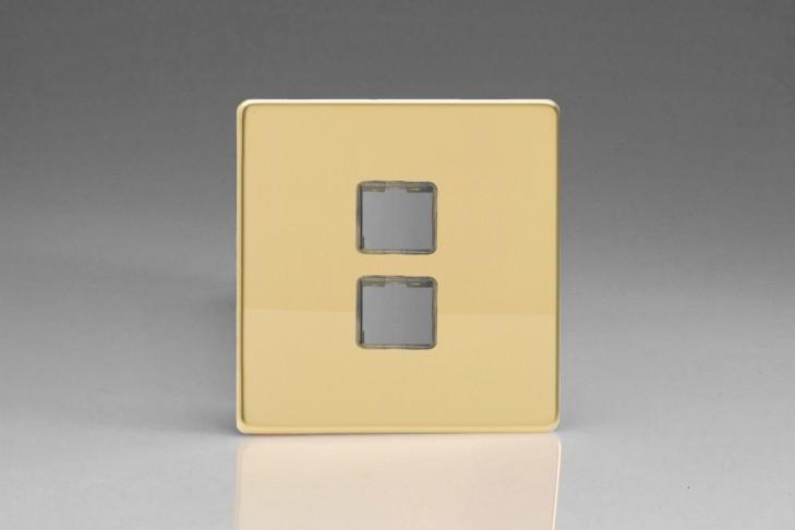 Plaque Data 2 Ports pour Prise RJ12, RJ45 ou USB Design Laiton Miroir
