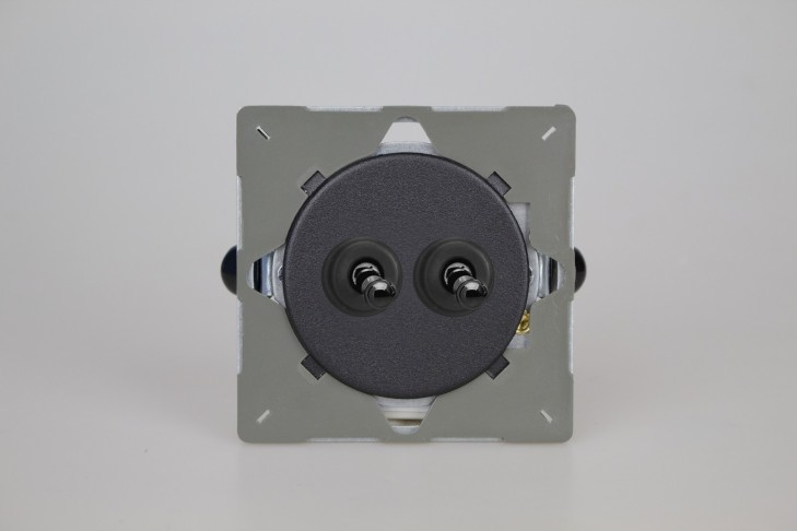 Module Double Interrupteur V&V Toggle Switch Noir Mat