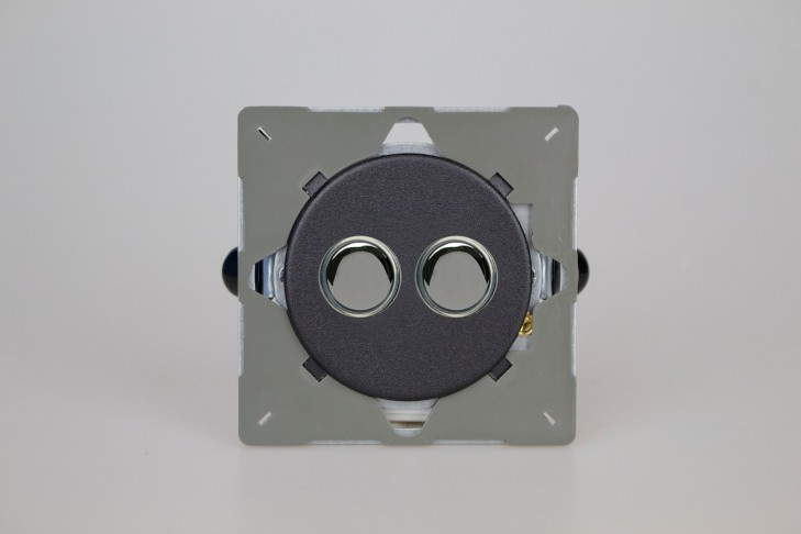 Module Double Bouton Poussoir Telerupteur Noir Mat