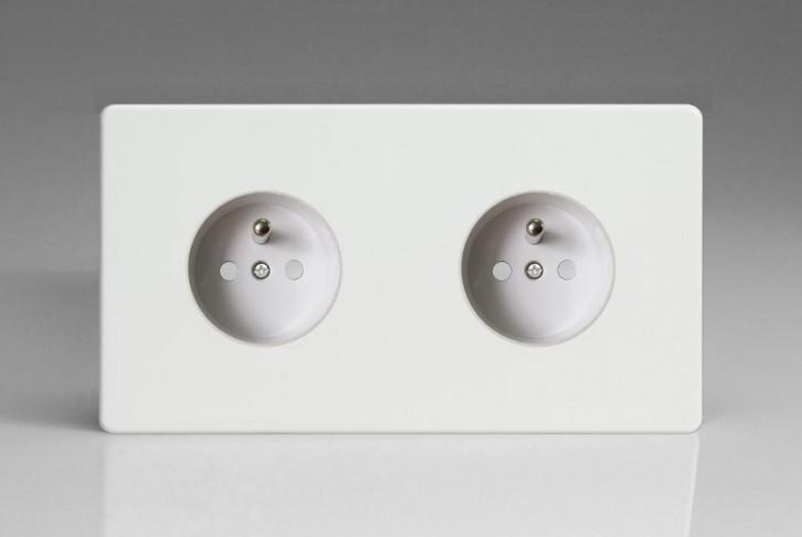 Double Prise de Courant Design Blanc Mat