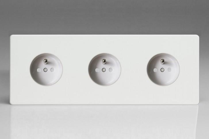 Triple Prise de Courant Design Blanc Mat