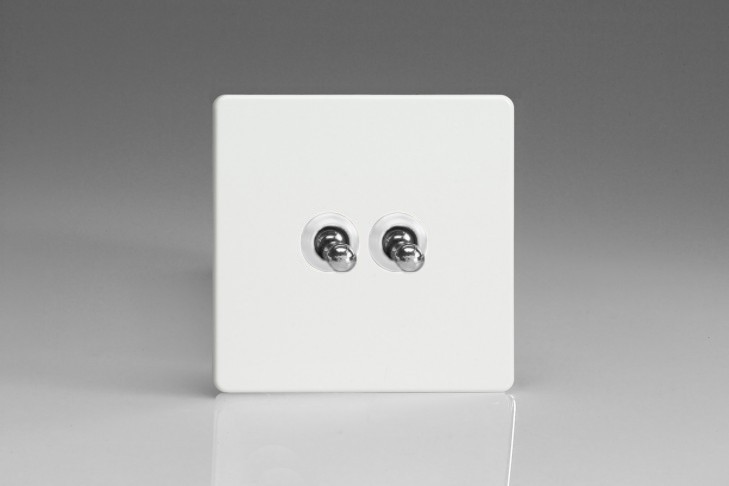 Double Interrupteur V&V Toggle Switch Blanc Mat
