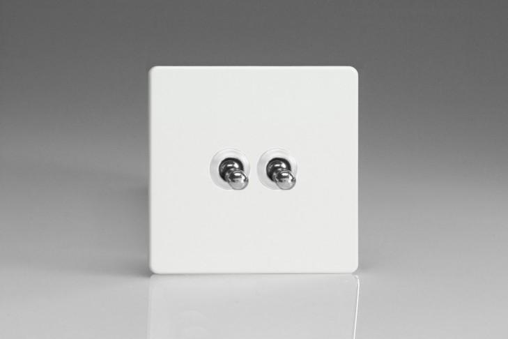 Double Interrupteur V&V Toggle Switch Blanc Mat