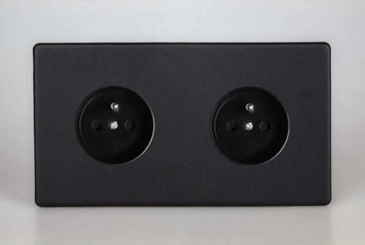 Double Prise de Courant Design Noir Mat
