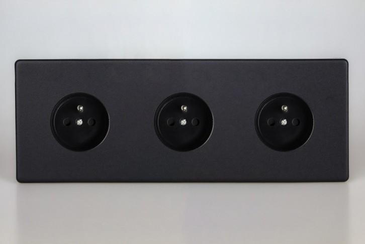 Triple Prise de Courant Design Noir Mat