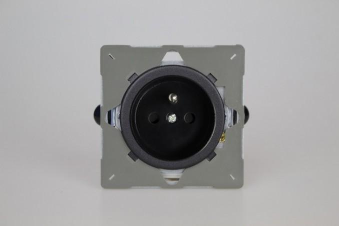 Module Prise de Courant 2P+T Noir Mat