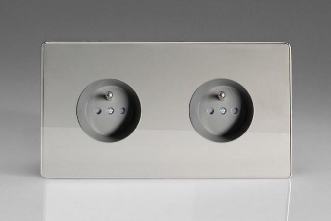 Double Prise de Courant Design Chrome Miroir